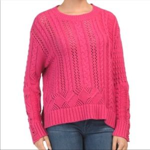 Splendid Pink Cable Knit Sweater Sz Small NWT